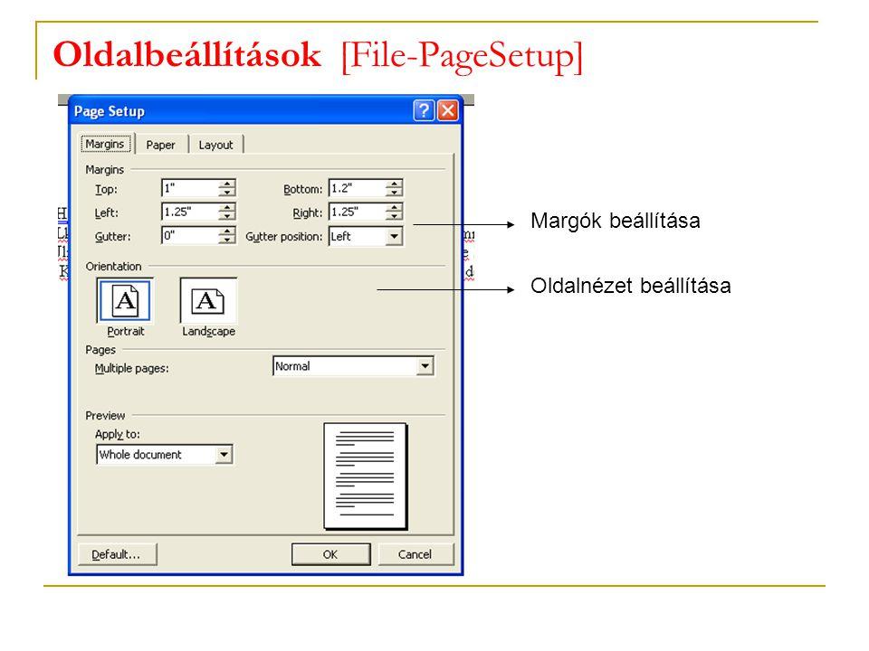 Oldalbeállítások [File-PageSetup]